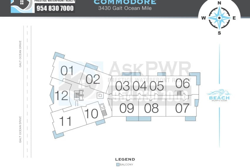 Galt Mile Condo Floor Plans -  The Commodore - Building Layout - Prestige Waterfront Realty AskPWR