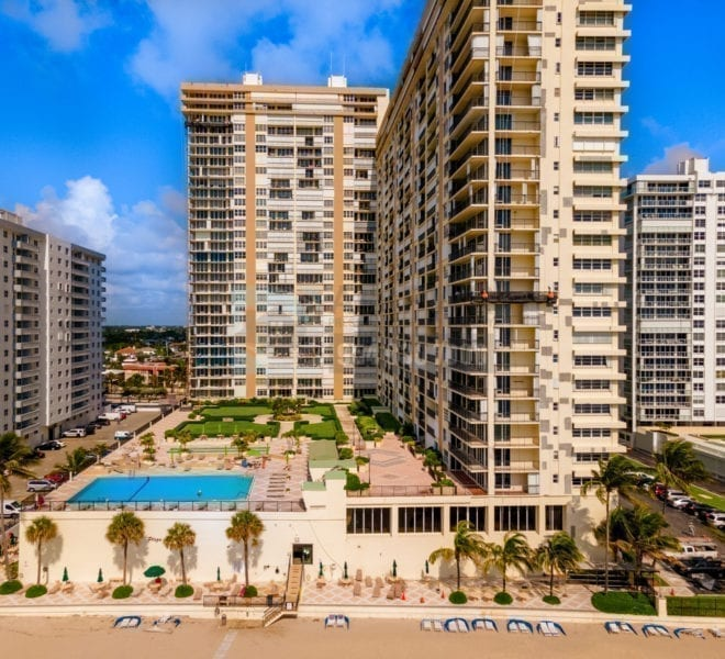 Plaza South Condominium 4280 Galt Ocean Drive Galt Mile Real Estate Listings Oceanfront Condos for Sale & Rent Prestige Waterfront Realty AskPWR Beach Drone June 2020 - 1